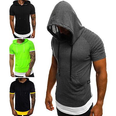 T-Shirt Sport Fitness Kapuze Training Achselshirts Slim Herren OZONEE 11506 MIX