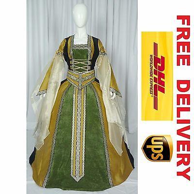 MEDIEVAL RENAISSANCE TUDOR WEDDING HANDFASTING LARP GOWN DRESS COSTUME (18K)