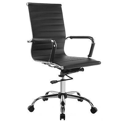 Ergonomic High Back Leather Office Chair Executive Task Computer Desk Seat Black