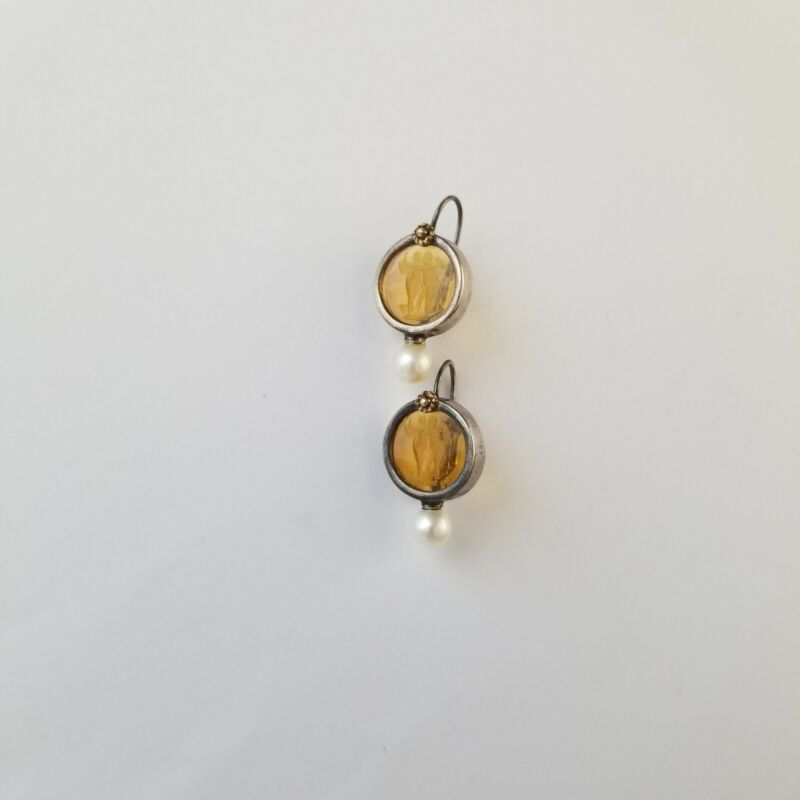 Vtg Deco Glass INTAGLIO Cherubs Sterling Silver Pearl Earrings Reverse Carved