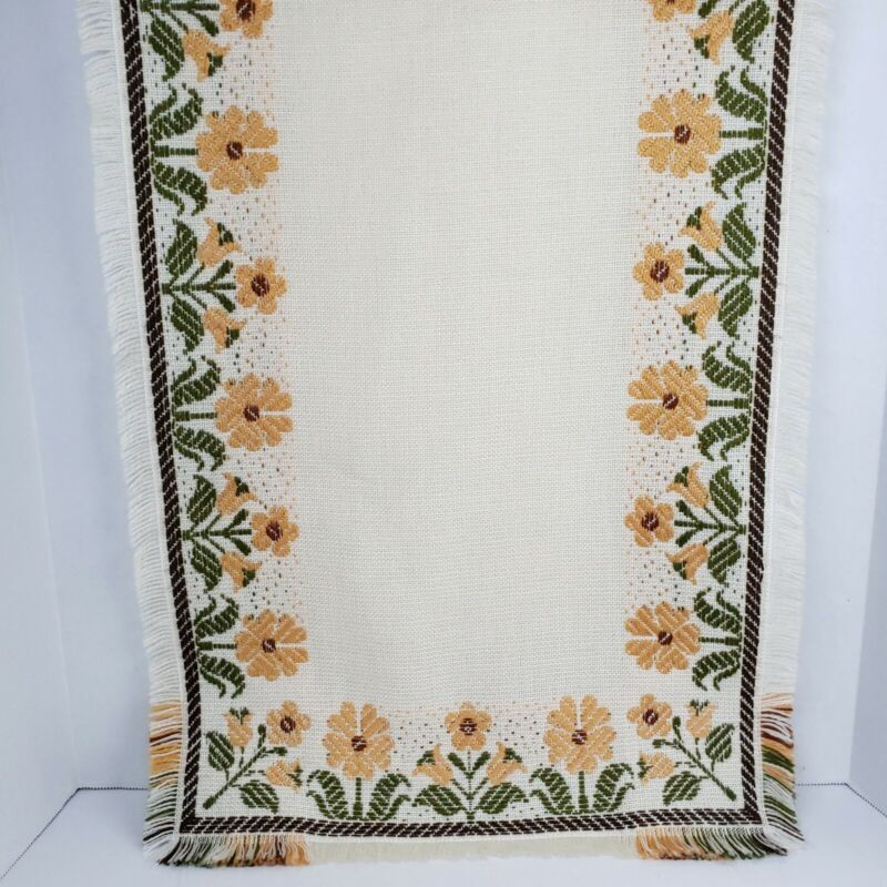 """Vintage Crewel Table Runner  Embroidered Flowers 40"""" X 16"""" Floral Fringed Retro"""