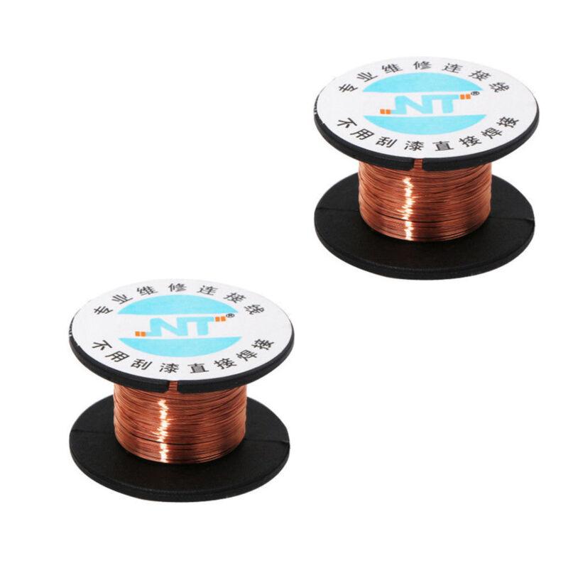 2X  New 0.1MM Copper Soldering Solder PPA Enamelled Repair Reel Wire SS534