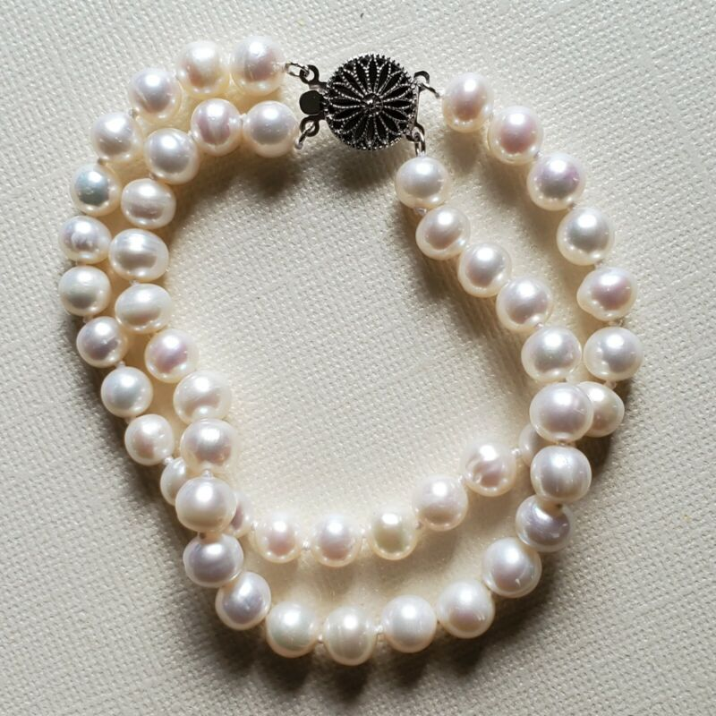 "White Freshwater Pearl Bracelet  7-8 mm 7.5"" Double Strand Sterling Silver"