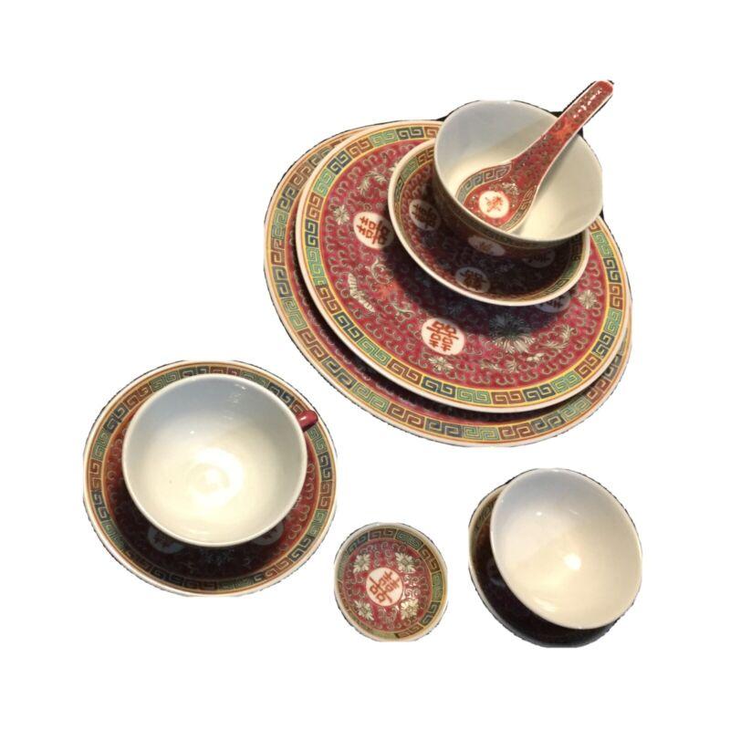 10 Piece Chinese Jingdezhen Mun Shou Famille Longevity Dinnerware