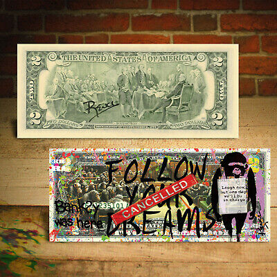 BANKSY WAS HERE Devolved English Parliament Genuine $2 US Bill SIGNED by Rency