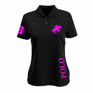 Ladies-Black-Pink-Polo-Pony-Shirt-Equestrian-rider-clothing-T-Shirt-XS-4XL