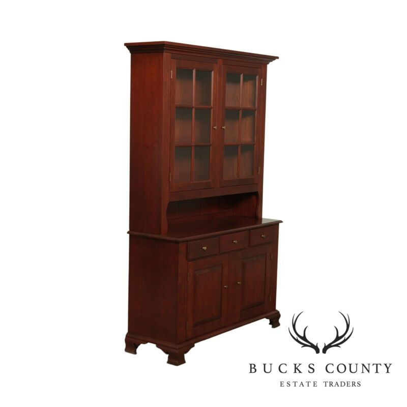 Seely Custom Crafted Cherry Step Back Cupboard, Hutch