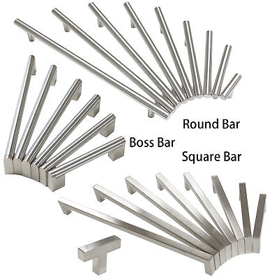 Brushed Nickel Cabinet Drawer Pulls Knobs Square/Round/Boss Bar Kitchen Handles -