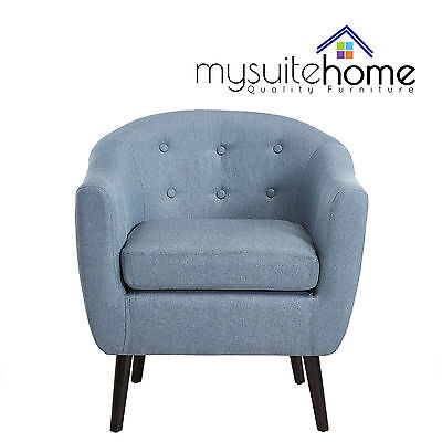 Alicia Contemporary Fabric Accent Tub Armchair with Wooden Support