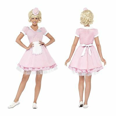 Ladies Pink Diner Girl 50s Waitress Costume Fancy Dress Grease Rock Roll Outfit - Grease Girl Outfits