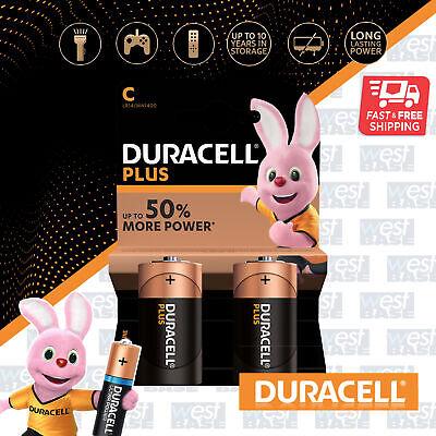 2x DURACELL C Plus Power Alkaline Batteries DURALOCK LR14 MN1400 Longest Expiry