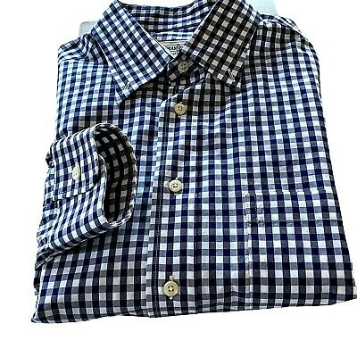 Vintage Gitman Bros Black Gray White Gingham Mens L Tailored Fit LS Shirt USA