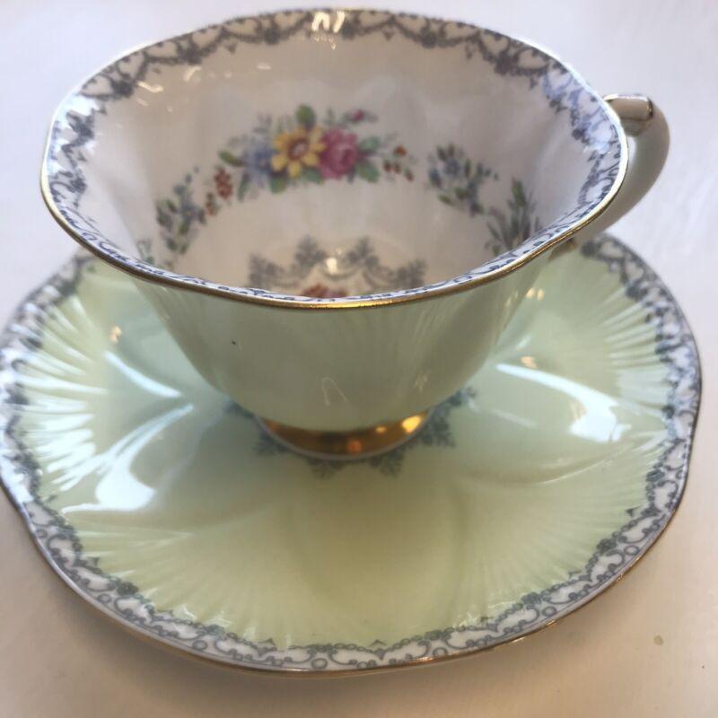 Shelley Bone China cup saucer light green floral gold trim 13950/534 England