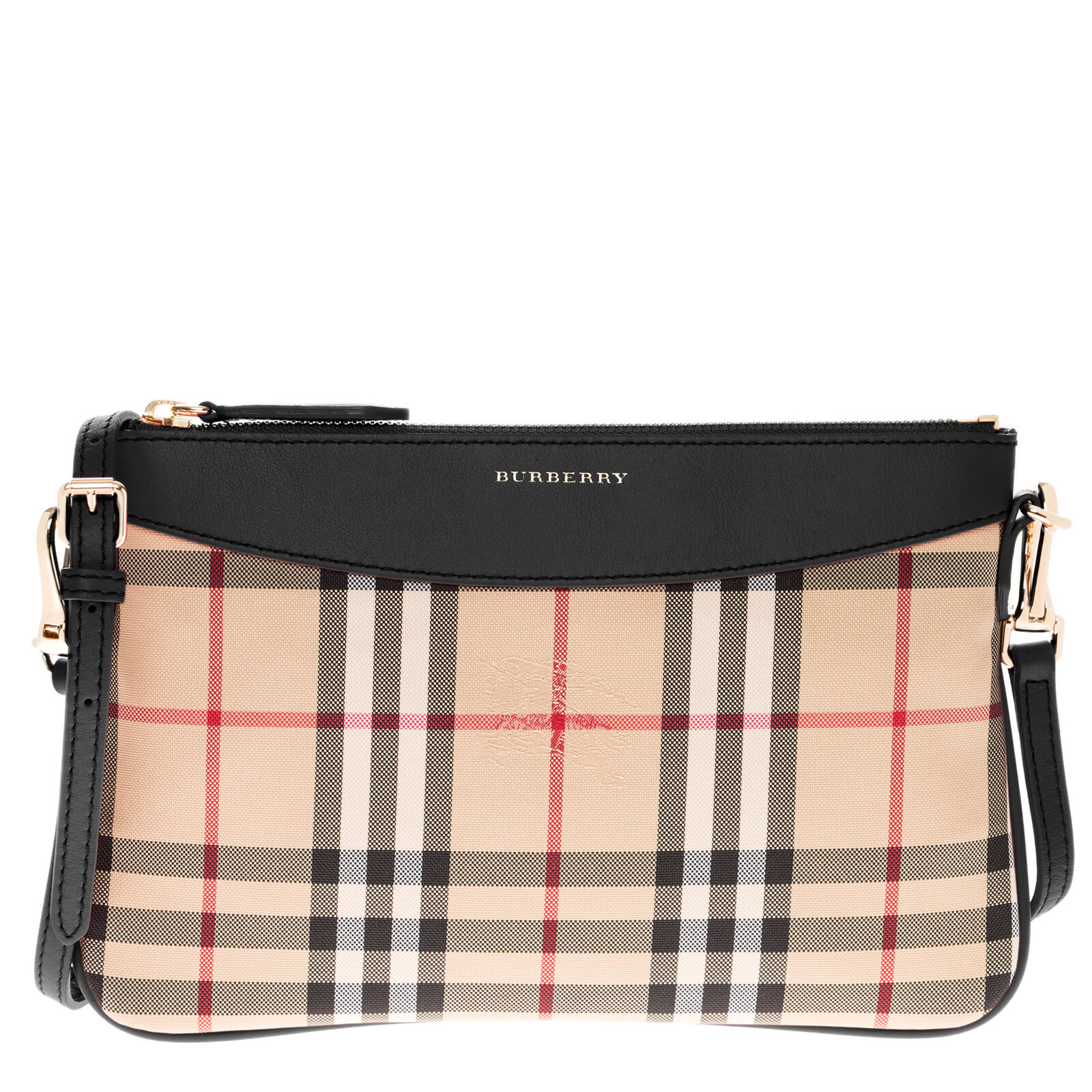 Details about Burberry Women s Horseferry Check Peyton Clutch Bag Beige +  Black 0d48cb2c91529