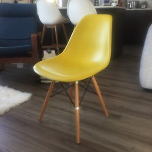 Yellow Green Eiffel Eames Style Chair with Wooden Legs