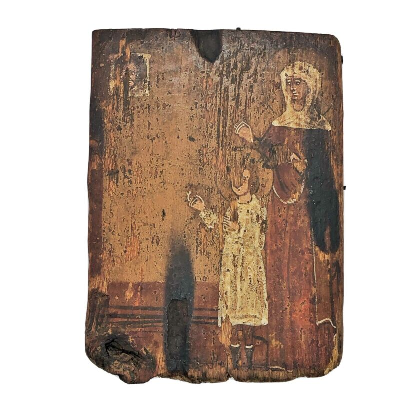 Circa 1500-1700's Post Renascence Era Russian Orthodox Wooden Icon Mary Jesus
