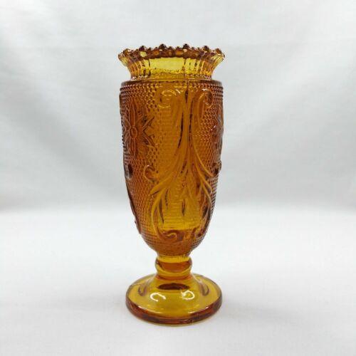 Vintage Indiana Glass Co. Amber Tiara Sandwich Pattern Toothpick Holder Bud Vase