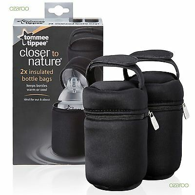 New Tommee Tippee Closer To Nature Insulated Baby Bottle Bags Twin Set Black