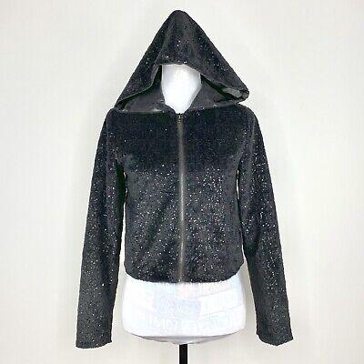 Forever 21 Women's Sequin Black Hoodie Jacket Full Zip Size S/P   Forever Womens Zip Hoodie