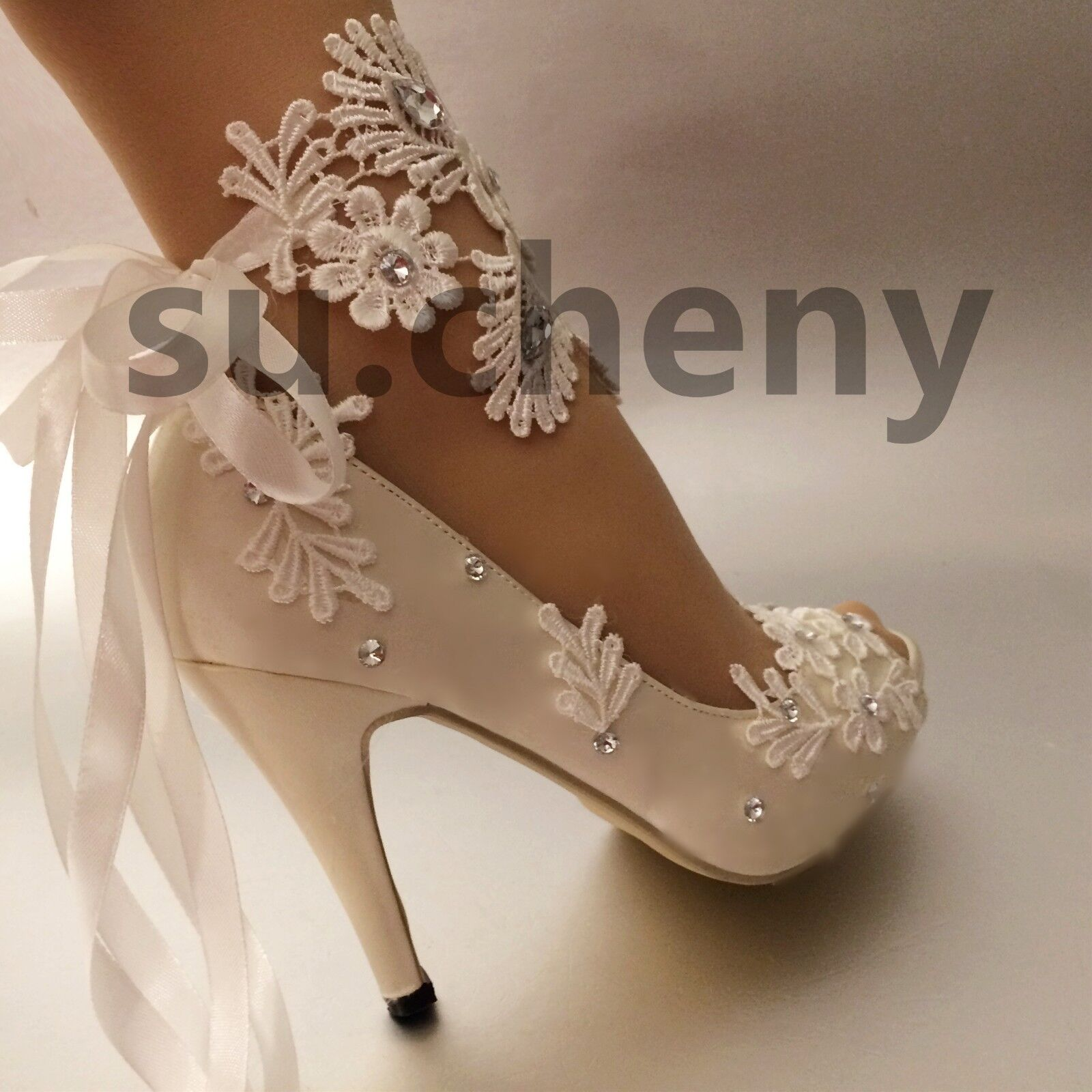 "3de1a40cd268be su.cheny 3  4"" heel white ivory satin lace ribbo.. in Clothing ..."
