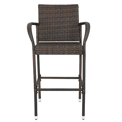 Set Of Two Iron Wicker Bar Chair Seat Patio Furniture With Armrest Outdoor  Wicker Two Seat