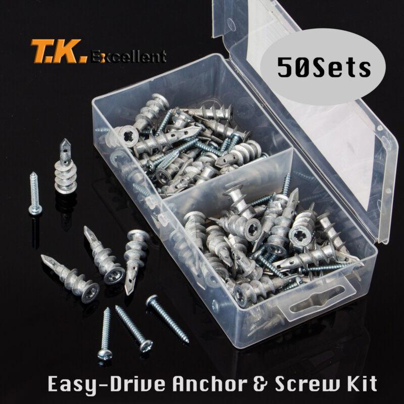 Self Drilling Drywall Anchors E8 13x41mm with#8x1-1/4 Pan Head Screws Kit,100Pcs