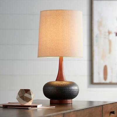 Mid Century Modern Table Lamp Hammered Bronze Wood for Livin