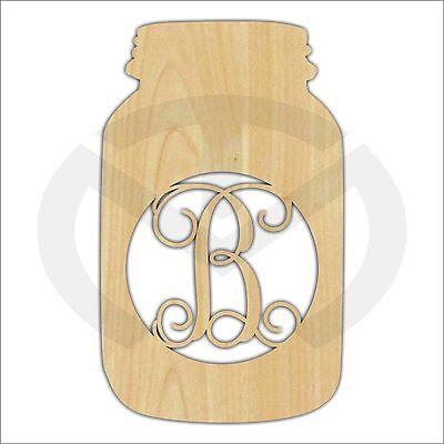 Unfinished Wood Mason Jar Monogram Door Hanger Laser Cutout w/ Your Initial
