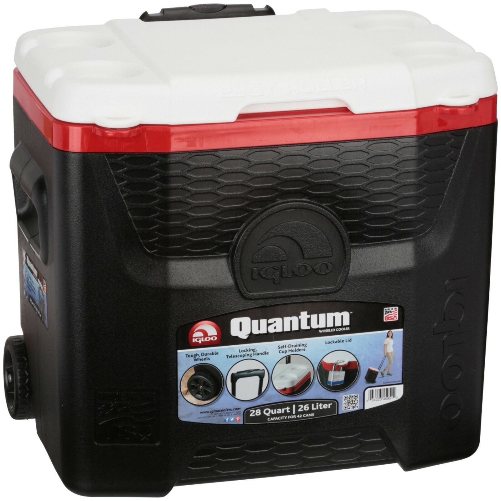 Igloo 28-Quart Quantum Wheeled Cooler in Black/Red Heat, Bra