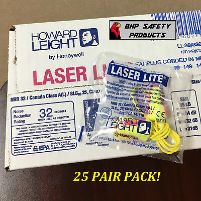 Howard Leight Laser Lite Ll-30 Corded Disposable Foam Ear Plugs Nrr30 25 Pairs