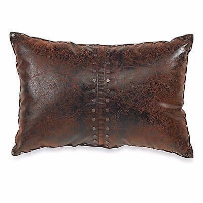 Croscill Plateau Boudoir Pillow Brown Faux Leather Rustic Southwestern Santa Fe  Southwestern Rustic Santa