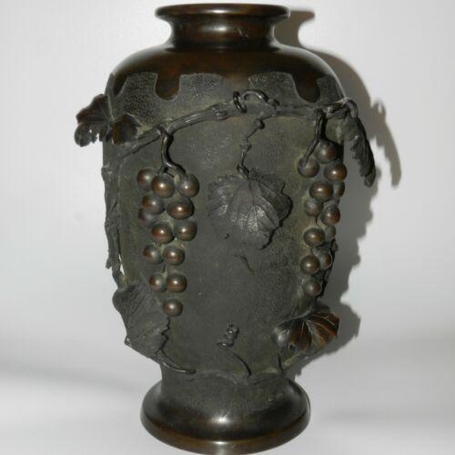 """Antique Meiji Taisho Japanese Bronze Vase Art Nouveau  14"""" Signed"""