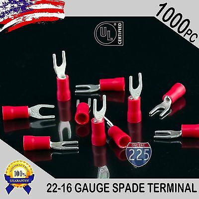 1000 Pack 22-18 Gauge Vinyl Spade Fork Crimp Terminals 6 Stud Tin Copper Core