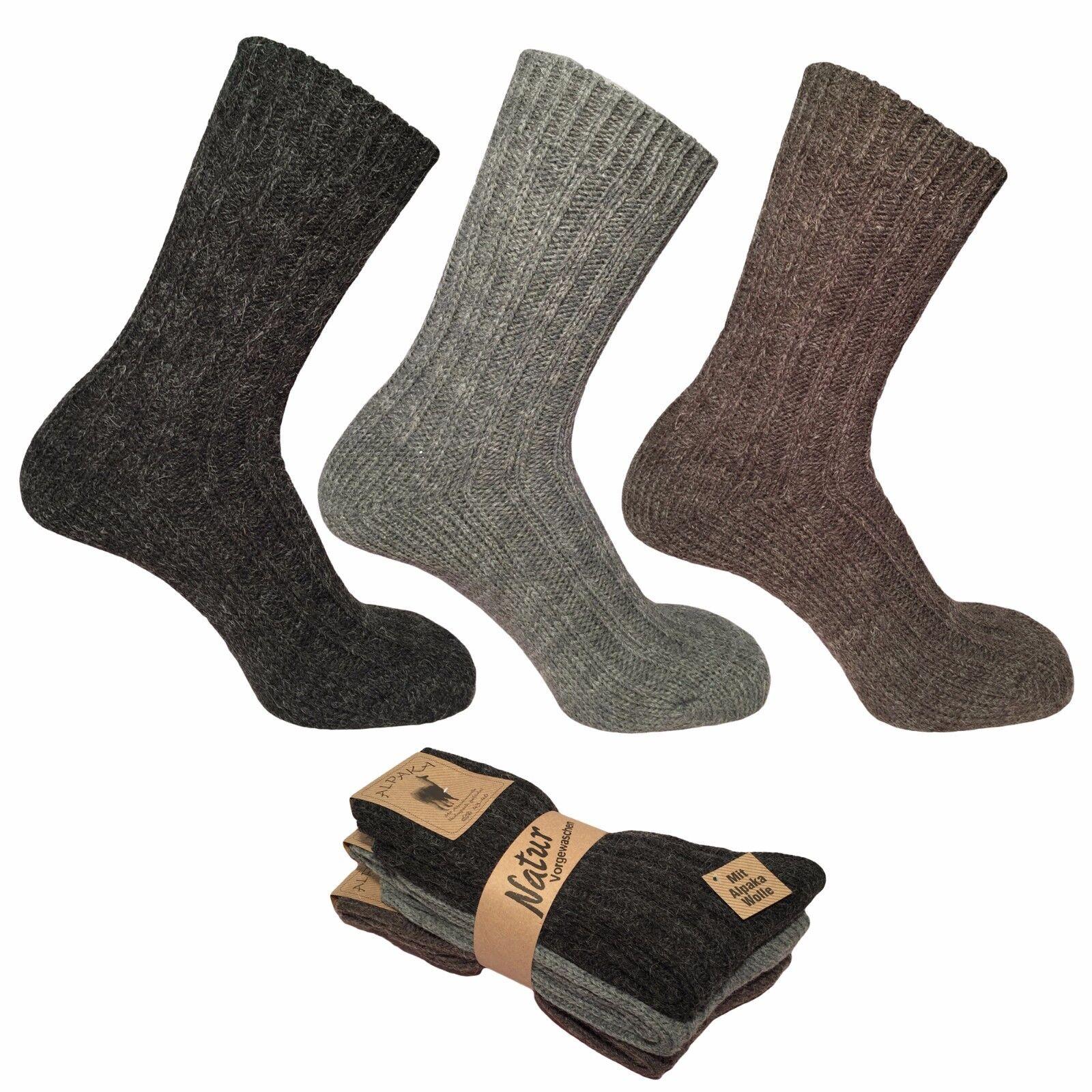 3 paia calze calzini uomo corti termici a coste in calda LANA ALPAKA invernali