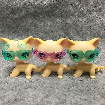 Littlest Pet Shop LPS Figure Toys #733 Short Hair Kitty Cat +Glasses Accessories