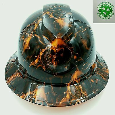 Hard Hat Custom Hydro Dipped Full Brim Hell Raiser Skulls Hi Vis Orange