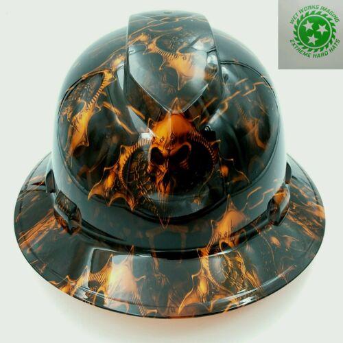 Hard Hat custom hydro dipped , FULL BRIM HELL RAISER SKULLS HI VIS ORANGE