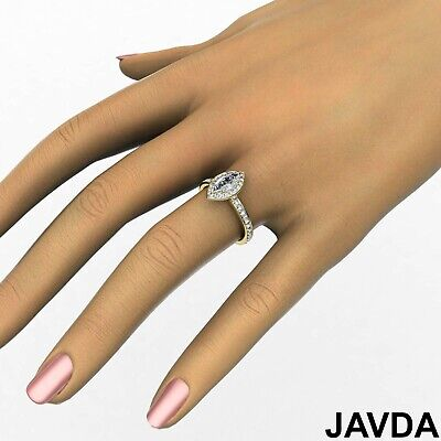 Halo Micro Pave Marquise Cut Diamond Engagement Cathedral Ring GIA F VS1 1.17Ct 10