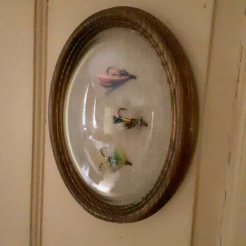 Fly fishing flies framed Maine New England oval frame bubble cover