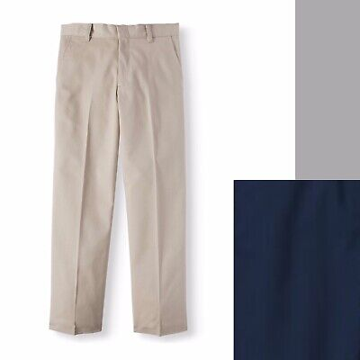 George Boys' School Uniform Flat front Double Knee Pant Color/Size Regular Husky Boys School Uniform Pant