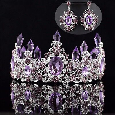 Queen Floral Purple Austrian Rhinestone Crystal Tiara Crown Set Bridal Prom - Queen Tiara