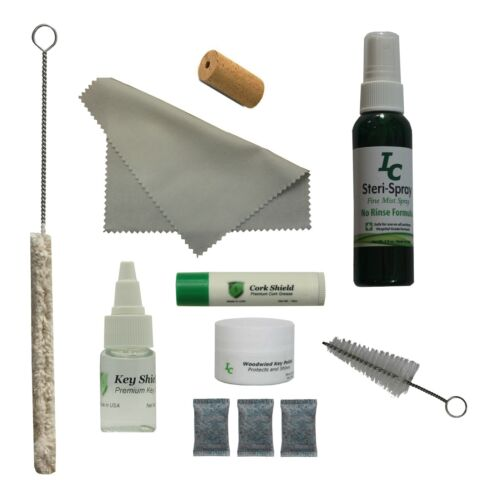 Deluxe Flute Care Kit, Head Cork, Swab, Mouthpiece Brush, Cleaner and More!