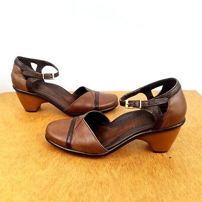 DANSKO  Brown Leather Heel Pump Ankle Strap Mary Jane Size 36 US 6.5- 7 Career  Ankle Strap Mary Jane Pump