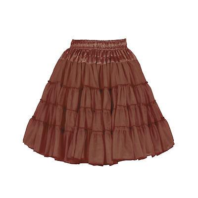 Reh Rentier Petticoat Tütü Tüllrock Saitn Kostüm knielang BRAUN 2-lagig Damen ()