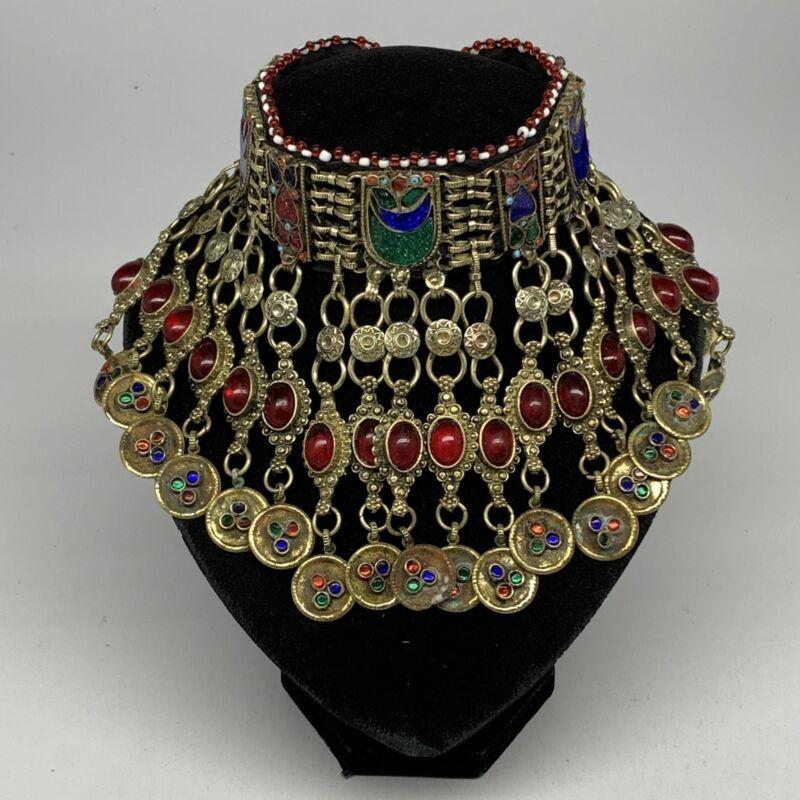 "330g, 12""x5.25""Kuchi Choker Necklace Multi-Color Tribal Gypsy Bohemian,B14126"