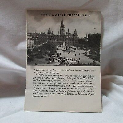 Vintage WWII 1944 US Armed Forces Travel Guide to Glasgow, Scotland, Ephemera