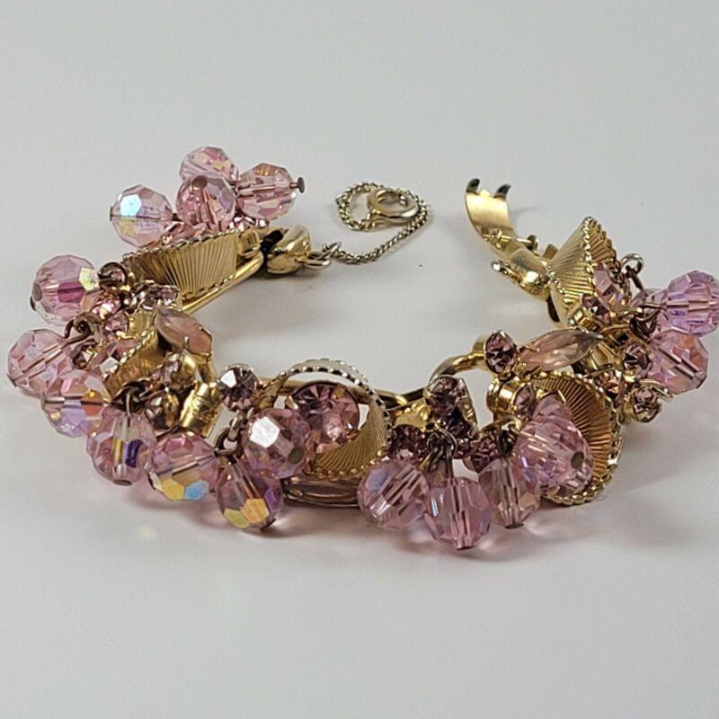 Vintage Juliana DeLizza Elster Pink Crystal Rhinestone 5 Link Bracelet