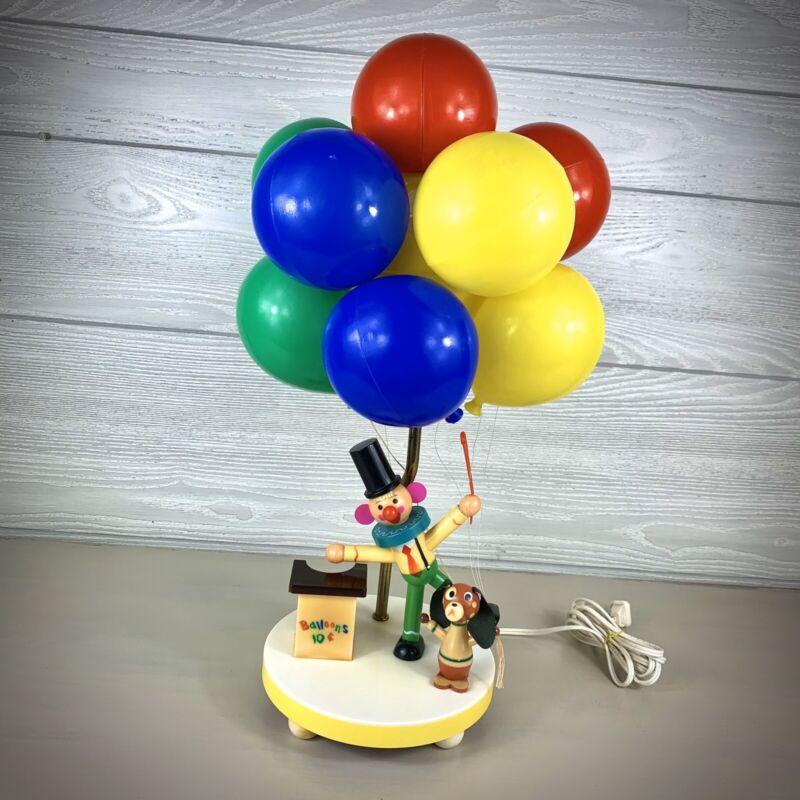 Vintage 1970's Dolly Toy Co. Balloon vendor Clown Lamp Nursery Kids