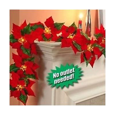 JH Smith Co Cordless Lighted Poinsettia Garland,Red Red Cordless Lighted Poinsettia
