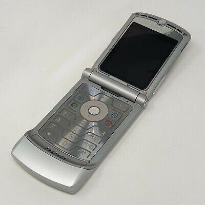Motorola RAZR V3 - Flip Mobile Phone - Silver Good Condition - Vodafone Fast P&P